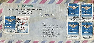 Chile Typed Cover To England With Five Naval Stamps Circa 1973 Ref 693