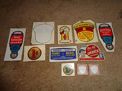 11 Old Gumball Candy Machine Decals Stickers Estate Find