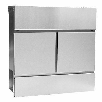 Mailbox Stainless Steel Mail Box Modern Lockable Secure Wall Newspaper Holder