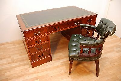 Antique Mahogany Pedestal Writing Desk 5ft x 3 Green Leather top with chair Set