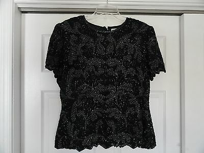 Papell Boutique Evening Women's Size Xl Black Beaded Formal Wear Top