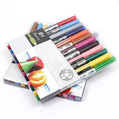 12PCS NIB BOX Set Graphic Drawing Twin Tip Brush Fine Sketch Marker Pen A1791