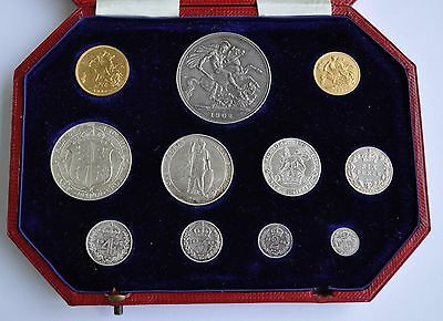 Rare 1902 Proof Short Set, 11 Coins Sovereign To Maundy Penny, Edward Vii Cased