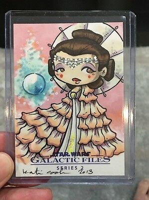 Topps Star Wars Galactic Files Amidala Color Sketch Art Card By Katie Cook Rare