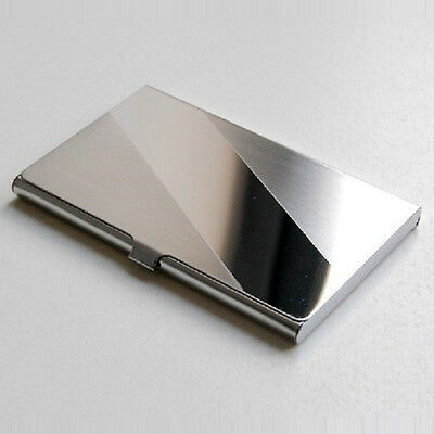 Steel Silver Aluminium Business ID Credit Card Holder Case Cover Bevel Gift