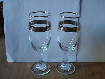 """A Pair Of Clear Fluted Glasses 'best Wishes' For Silver Wedding Approx. 6"""" Tall"""