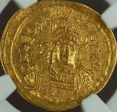 Leo I, 457-474 AD, Gold Solidus East. Roman Empire, NGC Ch XF Ancient Strike 5/5