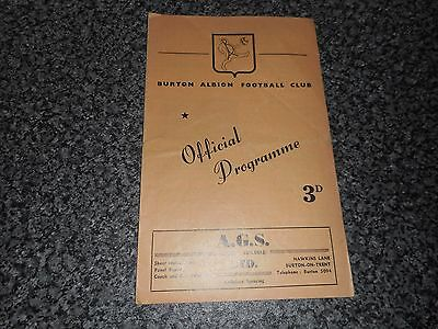 BURTON ALBION  v  NUNEATON BOROUGH  1958/9  SOUTHERN LEAGUE ~ JANUARY 24th