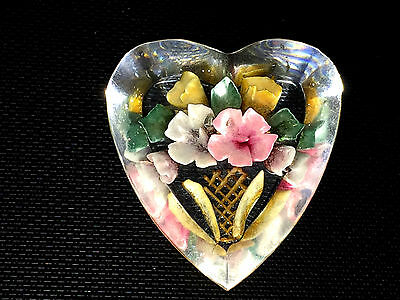 Beautiful Vintage Lucite Flower Brooch 1940s Stunning Heart Shaped Brooch Deco