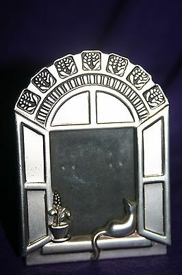 Vintage silver plated picture frame Cat on windowsill