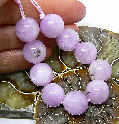 "10 RARE NATURAL PINK AFGHAN KUNZITE CATS EYE ROUND BEADS 4.75"" STRAND 147ct 12mm"