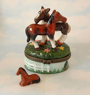 New  Handpainted Equine Red Horse  Appaloosa Horse Porcelain Hinged Trinket Box