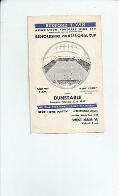 Bedford Town v Dunstable Bedfordshire Cup Semi Final Football Programme 1956/57