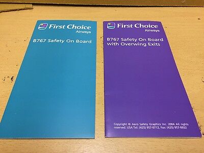 2 First Choice Airline Safety Cards Boeing 767 Air 2000 Aircraft Airlines