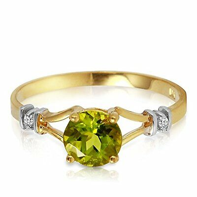 14K Solid Yellow Gold Ring with Natural Diamonds and Peridot