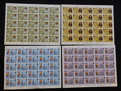"Jersey 1976 ""links With America' Sg160-163 U/mint Stamp Set In 4 Blocks Of 25"