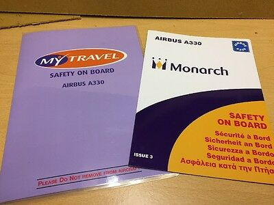 2 Airline Safety Cards Airbus A330 Aircraft My Travel Monarch