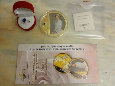 Large Diana Gold Coin Of Princess Diana Royal Family Limited Edition plus Ring