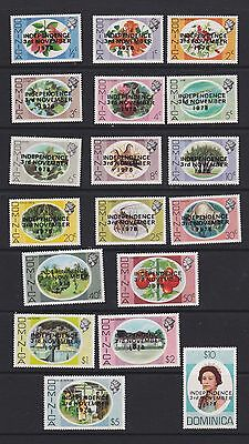 Stamps Dominica 1978 MNH set O/P Independence