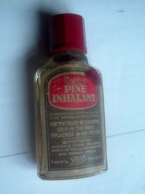 RARE CLEAR GLASS BOTTLE PINE INHALENT for BOOTS CHEMIST by REGESAN