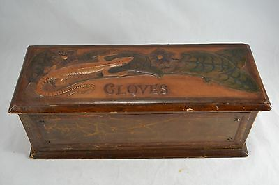 VINTAGE Arts and Crafts tooled leather glove box with lizard