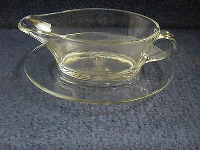 Glass Gravy Boat Jug And Plate Serving Jug