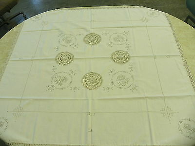 Vintage Off White Fancy Embroidered Doilie Insets Card Kitchen Table Cloth    I7