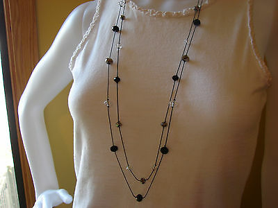 Estate Double Strand Black Beaded Necklace with Matching Dangle Earrings