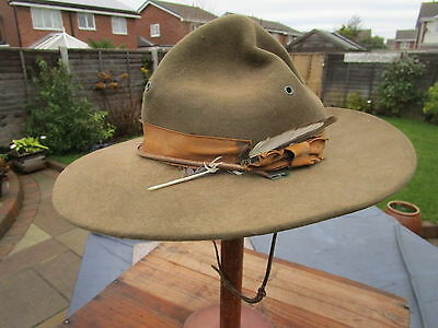 Vintage 1940s SCOUT MASTERS VELVET HAT with Belt and plane  spotters badge