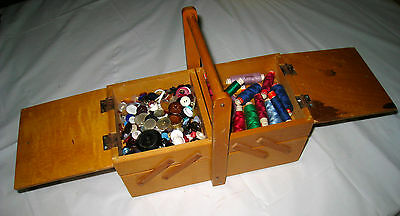 vintage WOODEN Sewing Box 2 tier CANTILEVER  VINTAGE buttons ZIG zag scissors