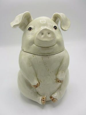 Fitz And Floyd Hand Painted Ceramic Porcelain Pig Animal Cookie Jar
