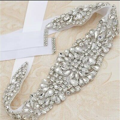 Bridal Wedding Rhinestone Crystal Encrusted Diamante Sash Dress White Belt