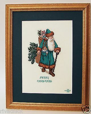 Completed Cross Stitch 1997 Santa Claus Matted & Framed Picture / Signed