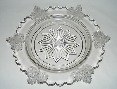 """Antique Victorian 10"""" Early Canadian Pressed Glass Maple Leaf Flange Plate"""