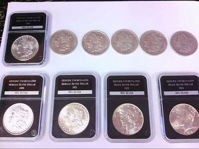 10- Morgan/Peace US Silver Dollars. SOME GOOD LOOKING COINS. BUY NOW!!