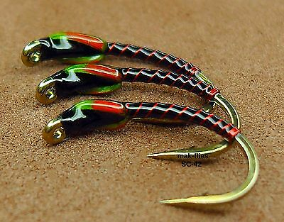 mak's Quality Hand Tied, 3 X Wicked New 2017 Successful Trout Buzzers,,,, SC 42
