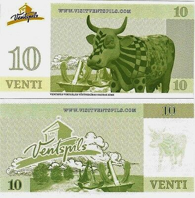Latvia : 10 Venti Local/Regional Currency Banknote, in  perfect, UNC. condition.