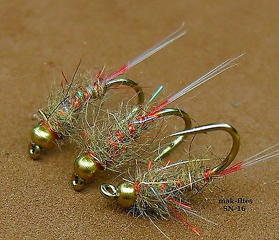 mak's Quality Hand Tied, 2017 New Still Water UV GRHE Nymphs Trout Flies,, SN 16