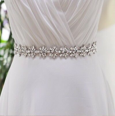 Bridal Wedding Bridesmaid Dress Sash Crystal Rhinestone Ivory Ribbon Waist Belt