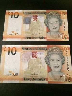 2 Jersey Channel Islands Uncirculated £10 Notes Consecutive Numbers
