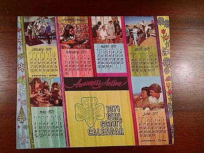 1971 Vintage Collectible Girl Scout Calendar with Envelope