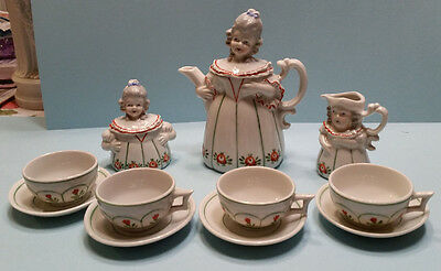 EXTREMELY RARE 1920s CHILD/DOLL GERMAN PORCELAIN TEASET SHAPED AS GIRL OR LADY