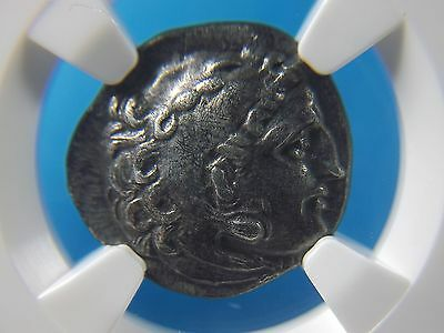 Silver Drachm of Alexander III the Great, 336-323 BC  NGC Ch XF   4004