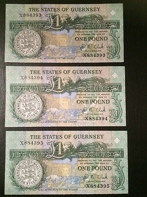 Set Of 3 Guernsey Uncirculated £1 Notes Consecutive High Numbers X884393-95
