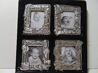 1995 Royal Limited Silver Baby's First Magnetic Photo Picture Frames NIB