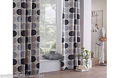 """100% Cotton Lined Ring top Curtains 66x72"""" 168x183cm Charcoal grey & cream"""