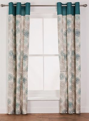 """100% Cotton Teal & Mocha Pattern Eyelet Pair Curtains 66x72"""" 168x183cm unlined"""