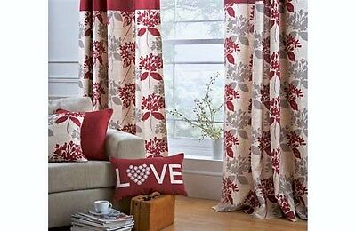 """Heavy 100% Cotton Floral Lined Eyelet Curtains 66x90"""" 168x228cm Red / Natural"""