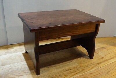 """10"""" tall 11x16 Handcrafted Heavy Duty Wood Step Stool, Bedside Bed, Red Mahogany"""