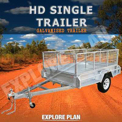 Strong 7 x 4 Medium Duty Single Axle Caged Galvanised Brand New Trailer